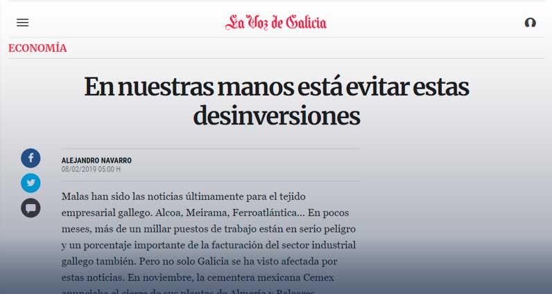 Colaboración de Alejandro Navarro en la Voz de Galicia